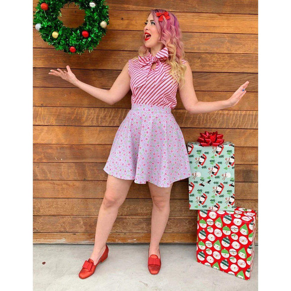 Retrolicious Candy Cane Striped Top-Top-Glitz Glam and Rebellion GGR Pinup, Retro, and Rockabilly Fashions