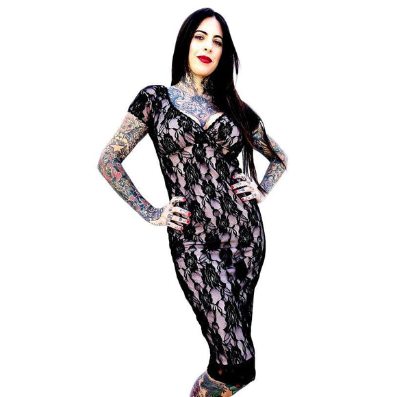GGR Rose Lace Wiggle in Black-Wiggle Dress-Glitz Glam and Rebellion GGR Pinup, Retro, and Rockabilly Fashions