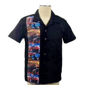 GGR Men's Bowling Shirt with Classic Cars Panel-Men's Bowling Shirt-Glitz Glam and Rebellion GGR Pinup, Retro, and Rockabilly Fashions