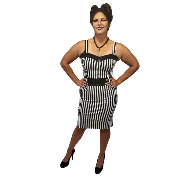 Switchblade Stiletto Darling Wiggle in Black & White Stripe-Wiggle Dress-Glitz Glam and Rebellion GGR Pinup, Retro, and Rockabilly Fashions