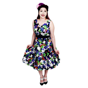 H&R London Twilight Floral Swing Dress-Dress-Glitz Glam and Rebellion GGR Pinup, Retro, and Rockabilly Fashions