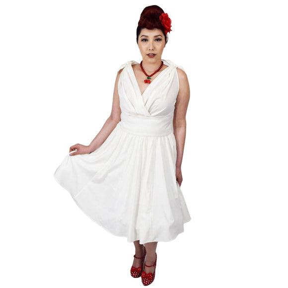 GGR Marilyn Crisscross Dress in White-Dress-Glitz Glam and Rebellion GGR Pinup, Retro, and Rockabilly Fashions