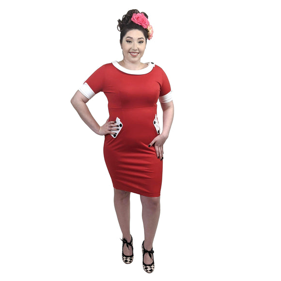 GGR Color Block Wiggle Dress-Wiggle Dress-Glitz Glam and Rebellion GGR Pinup, Retro, and Rockabilly Fashions