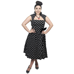 GGR Vamp Collar Dress in Black Dots-Dress-Glitz Glam and Rebellion GGR Pinup, Retro, and Rockabilly Fashions