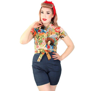 Hemet Knotted Top in Senorita Print-Top-Glitz Glam and Rebellion GGR Pinup, Retro, and Rockabilly Fashions