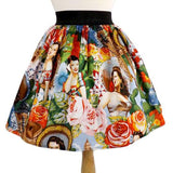 Hemet Pleated Skirt in Señoritas Print-Skirts-Glitz Glam and Rebellion GGR Pinup, Retro, and Rockabilly Fashions