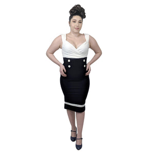 Steady Set Sail Diva Dress in Navy and White-Wiggle Dress-Glitz Glam and Rebellion GGR Pinup, Retro, and Rockabilly Fashions