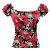 GGR Pinup Peasant Top in Skulls and Roses Print-Blouse-Glitz Glam and Rebellion GGR Pinup, Retro, and Rockabilly Fashions