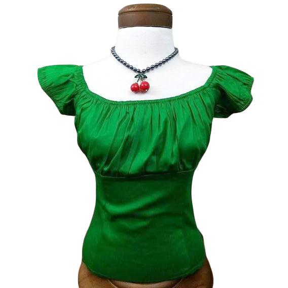 GGR Pinup Peasant Top in Solid Green-Blouse-Glitz Glam and Rebellion GGR Pinup, Retro, and Rockabilly Fashions