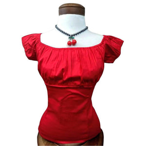 GGR Pinup Peasant Top in Solid Red-Blouse-Glitz Glam and Rebellion GGR Pinup, Retro, and Rockabilly Fashions