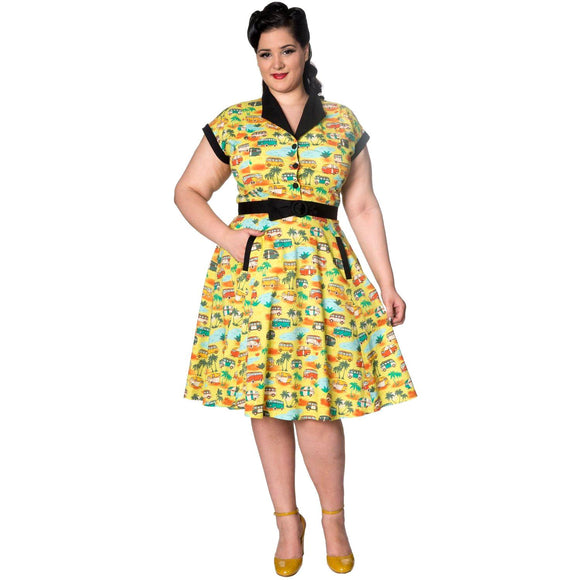 Banned Starlight Camper Swing Dress-Glitz Glam and Rebellion GGR Pinup, Retro, and Rockabilly Fashions