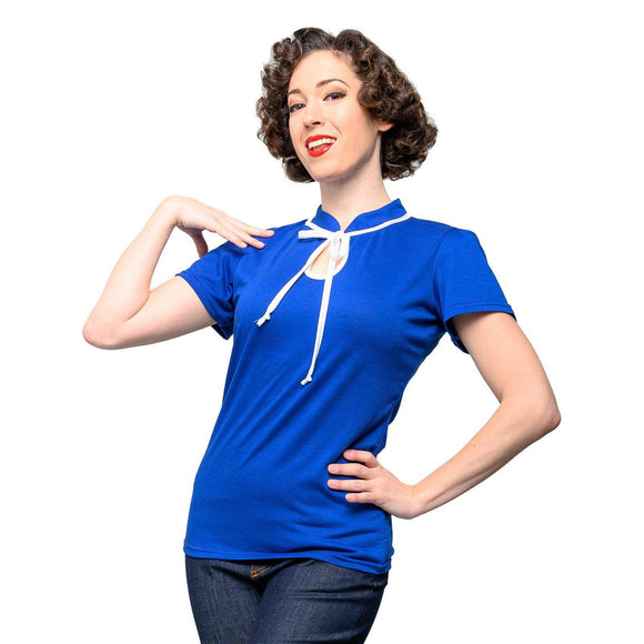 Steady Keyhole to My Heart Top in Royal Blue-Top-Glitz Glam and Rebellion GGR Pinup, Retro, and Rockabilly Fashions