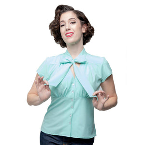 Steady Harlow Tie Blouse in Mint-Blouse-Glitz Glam and Rebellion GGR Pinup, Retro, and Rockabilly Fashions