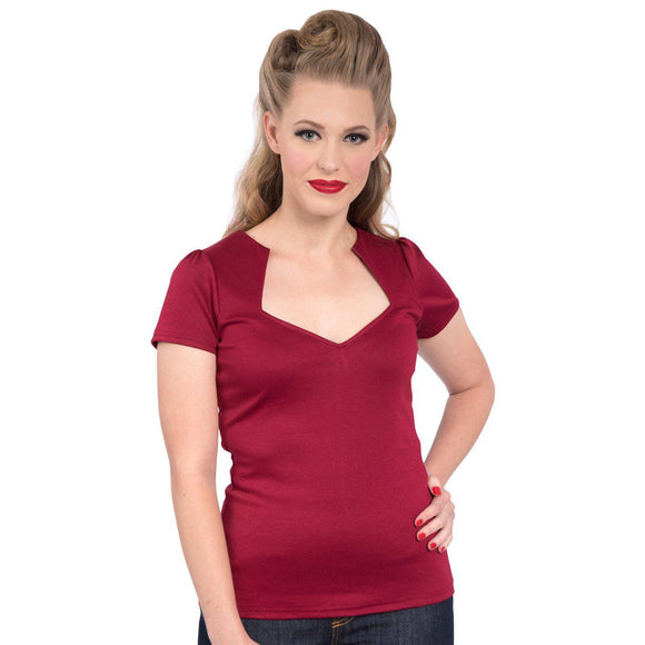Steady Clothing Rockabilly Diamond Cut Shirt in Wine-Shirts-Glitz Glam and Rebellion GGR Pinup, Retro, and Rockabilly Fashions