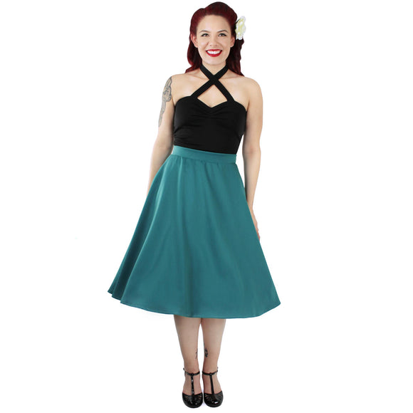 Flowy Teal Skirt With Pockets-Skirts-Glitz Glam and Rebellion GGR Pinup, Retro, and Rockabilly Fashions
