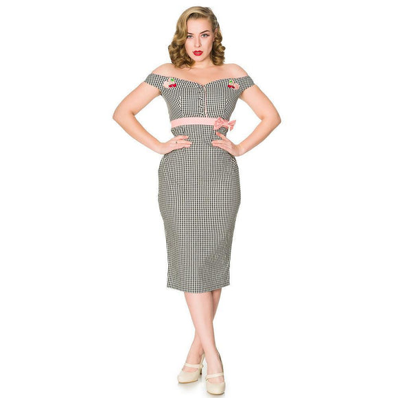 Timeless London Heartbreaker Gingham Wiggle Dress-Wiggle Dress-Glitz Glam and Rebellion GGR Pinup, Retro, and Rockabilly Fashions