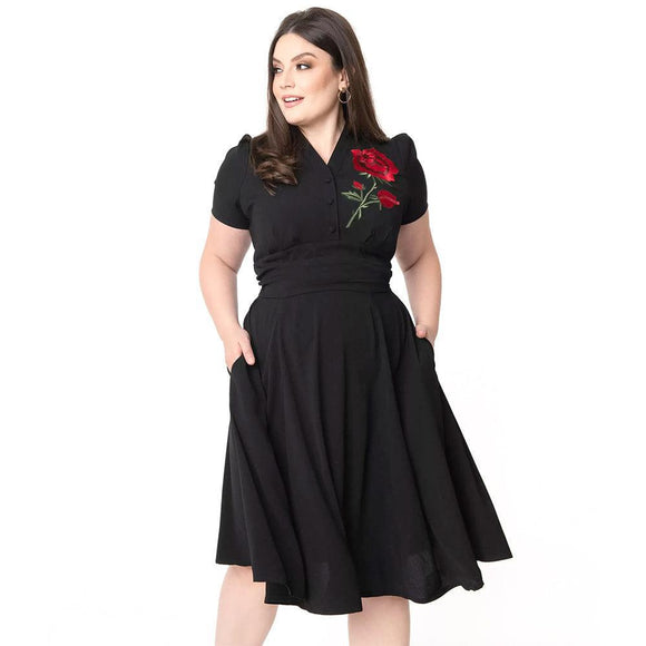 Timeless London Reema Rose Dress-Swing Dress-Glitz Glam and Rebellion GGR Pinup, Retro, and Rockabilly Fashions