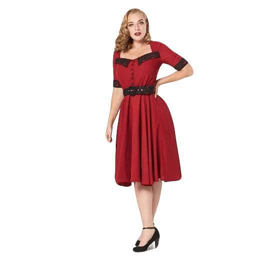 Timeless London Ruby 50's Dress-Swing Dress-Glitz Glam and Rebellion GGR Pinup, Retro, and Rockabilly Fashions