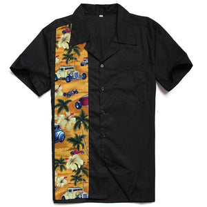 GGR Men's Bowling Shirt in Black with Palm Trees & Classic Cars-Men's Bowling Shirt-Glitz Glam and Rebellion GGR Pinup, Retro, and Rockabilly Fashions