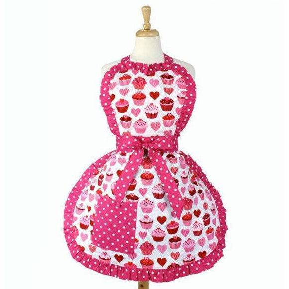 Hemet Valentine Cupcake Love Apron-Pinup Aprons-Glitz Glam and Rebellion GGR Pinup, Retro, and Rockabilly Fashions