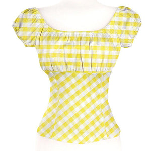 GGR Pinup Peasant Blouse in Yellow Gingham-Blouse-Glitz Glam and Rebellion GGR Pinup, Retro, and Rockabilly Fashions