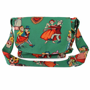 Hemet Teal Catrinas Messenger Bag-Purses-Glitz Glam and Rebellion GGR Pinup, Retro, and Rockabilly Fashions