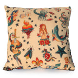 Hemet Pillow Cover in Tattoo Art Print-Pillow Cover-Glitz Glam and Rebellion GGR Pinup, Retro, and Rockabilly Fashions