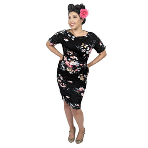 GGR Wiggle Dress In Spring Art Flowers on Black-Wiggle Dress-Glitz Glam and Rebellion GGR Pinup, Retro, and Rockabilly Fashions