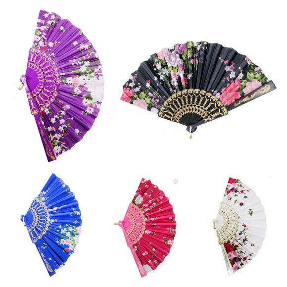 Vintage-Style Floral Fans (5 colors)-Fan-Glitz Glam and Rebellion GGR Pinup, Retro, and Rockabilly Fashions