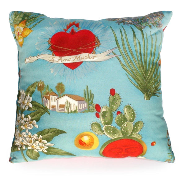Hemet Pillow Cover in Frida Kahlo Art on Teal-Pillow Cover-Glitz Glam and Rebellion GGR Pinup, Retro, and Rockabilly Fashions