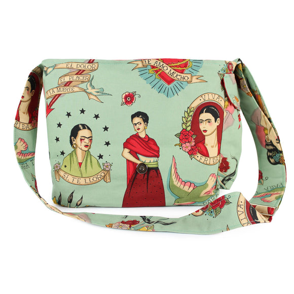 Hemet Frida 'Todo Para Ti' Messenger Bag in Teal-Purses-Glitz Glam and Rebellion GGR Pinup, Retro, and Rockabilly Fashions