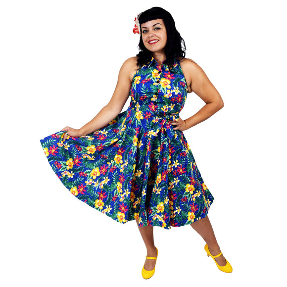 GGR June Shirtdress in Blue Hawaii Print-Dress-Glitz Glam and Rebellion GGR Pinup, Retro, and Rockabilly Fashions