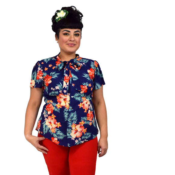 Hemet Bow Blouse in Tropical Print-Top-Glitz Glam and Rebellion GGR Pinup, Retro, and Rockabilly Fashions
