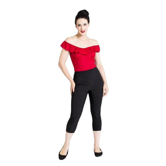 Hell Bunny Tina Capris in Black-Pants-Glitz Glam and Rebellion GGR Pinup, Retro, and Rockabilly Fashions