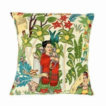 Hemet Pillow Cover with Red Frida Kahlo Art-Pillow Cover-Glitz Glam and Rebellion GGR Pinup, Retro, and Rockabilly Fashions