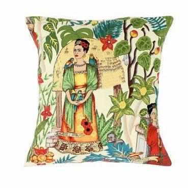 Hemet Pillow Cover with Green Frida Kahlo Art-Pillow Cover-Glitz Glam and Rebellion GGR Pinup, Retro, and Rockabilly Fashions