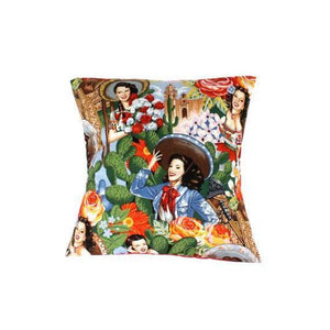 Hemet Pillow Cover in Senorita Print-Pillow Cover-Glitz Glam and Rebellion GGR Pinup, Retro, and Rockabilly Fashions