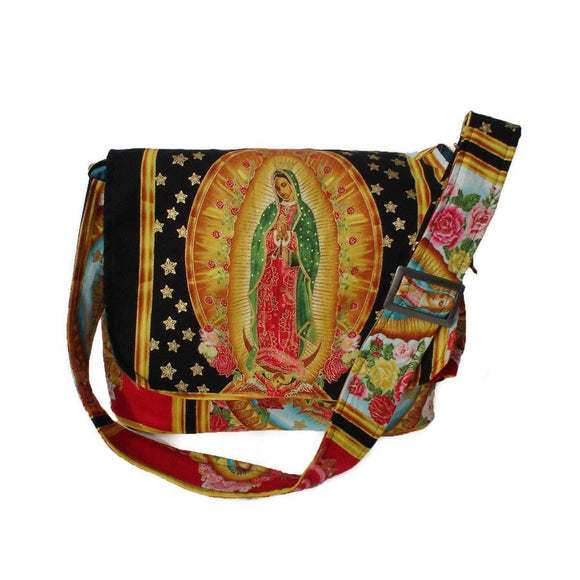 Hemet Guadalupe Messenger Bag in Black-Purses-Glitz Glam and Rebellion GGR Pinup, Retro, and Rockabilly Fashions