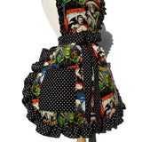 Hemet Ruffled Monster Mash Apron-Pinup Aprons-Glitz Glam and Rebellion GGR Pinup, Retro, and Rockabilly Fashions