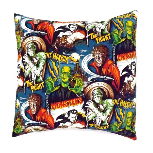 Hemet Pillow Cover in Monster Mash Print-Pillow Cover-Glitz Glam and Rebellion GGR Pinup, Retro, and Rockabilly Fashions