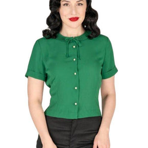 Tatyana Ingrid Blouse in Green-Blouse-Glitz Glam and Rebellion GGR Pinup, Retro, and Rockabilly Fashions