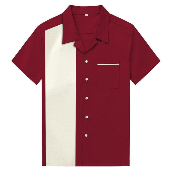 GGR Men's Bowling Shirt in Maroon-Men's Bowling Shirt-Glitz Glam and Rebellion GGR Pinup, Retro, and Rockabilly Fashions