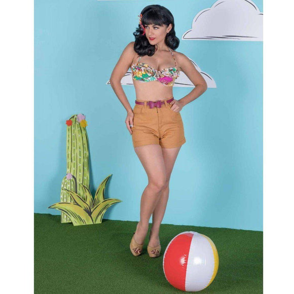 Tatyana Chica Shorts in Yellow-Shorts-Glitz Glam and Rebellion GGR Pinup, Retro, and Rockabilly Fashions