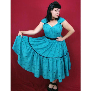 GGR Swing Dress in Turquoise Atomic Print-Dress-Glitz Glam and Rebellion GGR Pinup, Retro, and Rockabilly Fashions