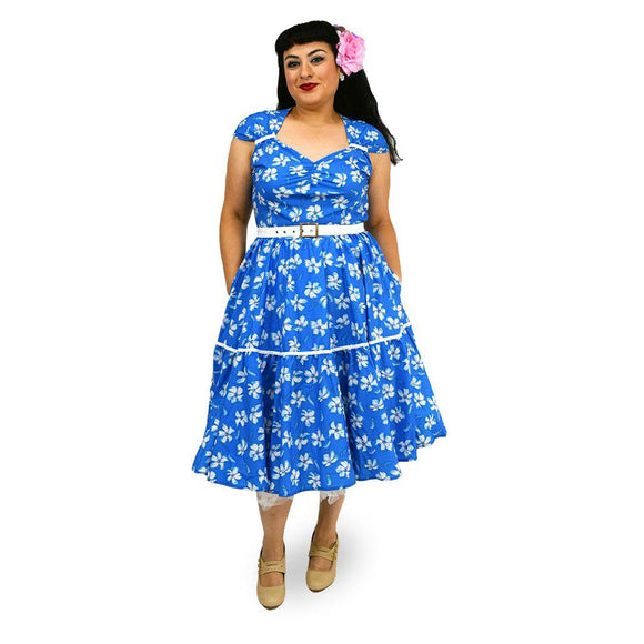 GGR Swing Dress Blue and White Floral Print-Dress-Glitz Glam and Rebellion GGR Pinup, Retro, and Rockabilly Fashions