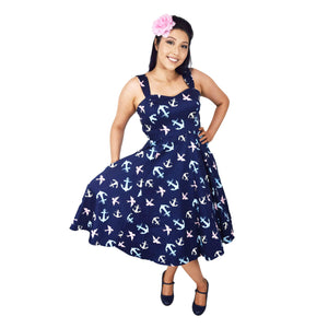 H&R London Sunken Swallow Sundress-Dress-Glitz Glam and Rebellion GGR Pinup, Retro, and Rockabilly Fashions