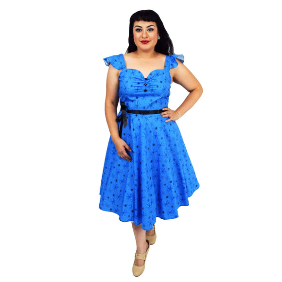 GGR Swing Dress in Blue Atomic Print-Dress-Glitz Glam and Rebellion GGR Pinup, Retro, and Rockabilly Fashions