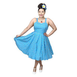 GGR Summer Polkadot Dress in Blue-Dress-Glitz Glam and Rebellion GGR Pinup, Retro, and Rockabilly Fashions