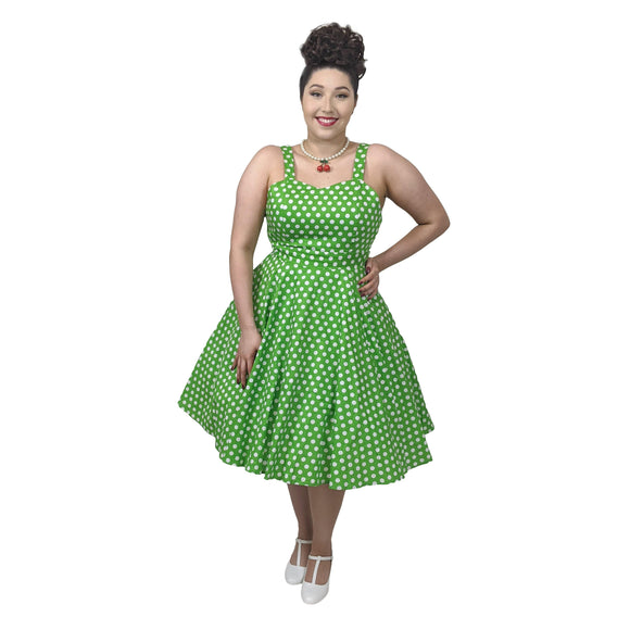 GGR Summer Polkadot Dress in Green-Dress-Glitz Glam and Rebellion GGR Pinup, Retro, and Rockabilly Fashions