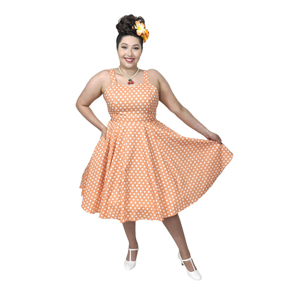GGR Summer Polkadot Dress in Orange-Dress-Glitz Glam and Rebellion GGR Pinup, Retro, and Rockabilly Fashions